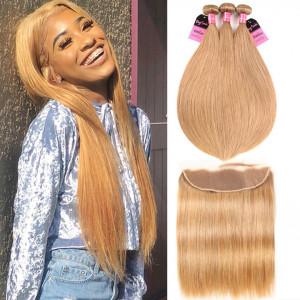 3 Bundles Straight Caramel Hair Color Bundles With Frontal