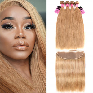 4 Bundles #27 Straight Brazilian Hair With Frontal