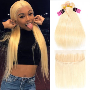 613 blonde straight 3 bundles with frontal
