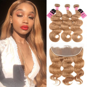#27 honey blond body wave 3 bundles with frontal