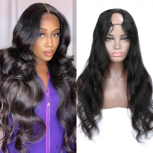 body wave u part wigs human hair