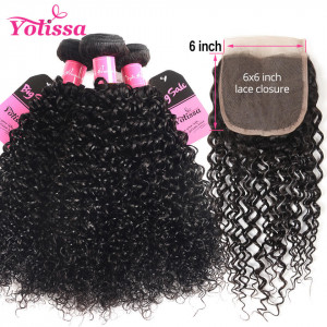 kinky curly 3 bundles with closure 6*6