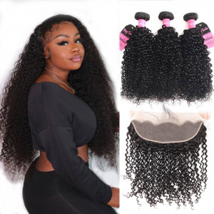 curly bundles with frontal 13*4