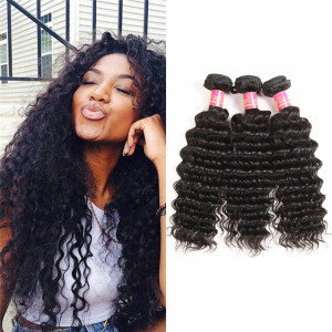 Yolissa Brazilian Deep Wave Human Virgin Hair 3 Bundles