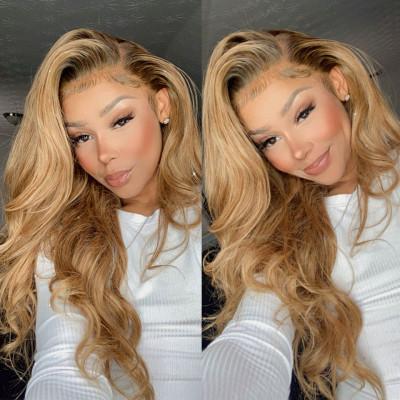 Body Wave #27 Honey Blonde Lace Front Wigs For Black Women 180%-250% Density