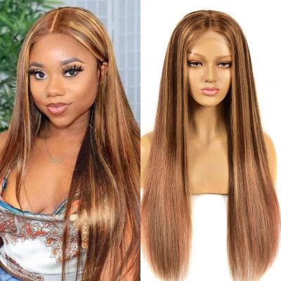 #4/27/33 Piano Straight Lace Front Wigs Dark Brown Mix Blonde Lace Wigs
