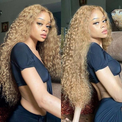 #27 Honey Blonde Water Wave 13*4 Lace Front Wigs 180%-250% Density 14-24inch