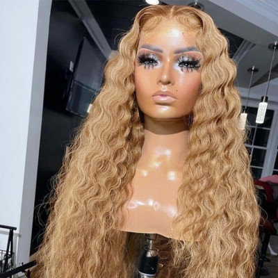 Crimped Lace Front Wig Human Hair #27 Honey Blonde Big Deep Wave Wigs For Elegant Women