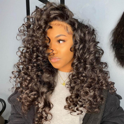 Natural Big Curly Lace Front Wigs Human Hair Spiral Curl Wigs 200% Density