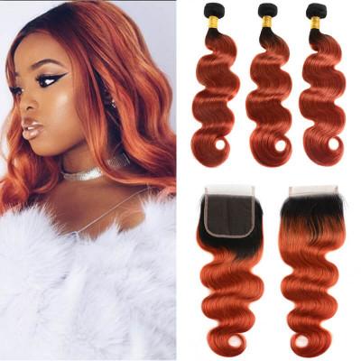 Brazilian Hair 1B/350 Body Wave & Straight 3 Bundles With 4*4 Closure