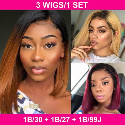 Buy One Get Three Wigs 1B/27 & 1B/99J & 1B/30 Straight 13*4 Bob Wigs