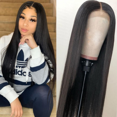 Human Hair Straight Lace Front Wigs 150%-250% Density With Baby Hair