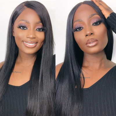 360 Lace Wigs 150%-200% Density For Women Human Virgin Straight Hair Wig