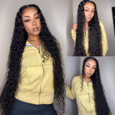 Water Wave 16-36 Inch 13*6 Human Hair Lace Front Wigs With Baby Hair