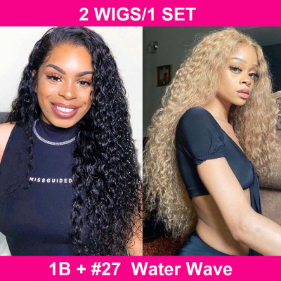 2 Pieces Water Wave 4*4 Lace Closure Wigs in 1B And #27 Pay One Get Two Wigs
