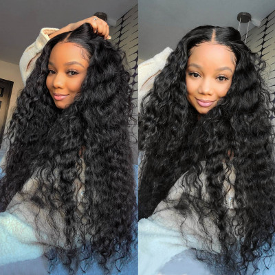 Water Wave Human Hair 13*4 Transparent Lace Front Wigs With Baby Hair For Black Women