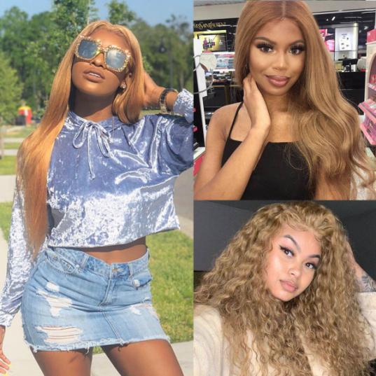 #27 honey blonde lace part wigs