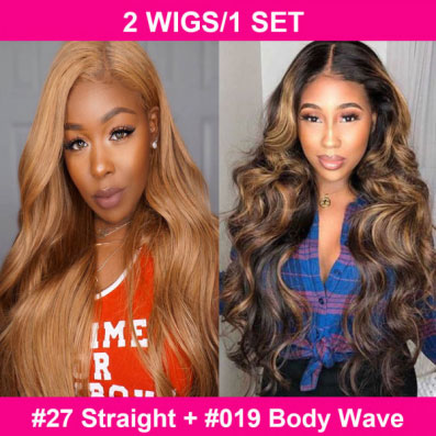 one #27 straight and one #19 body wave lace part wigs