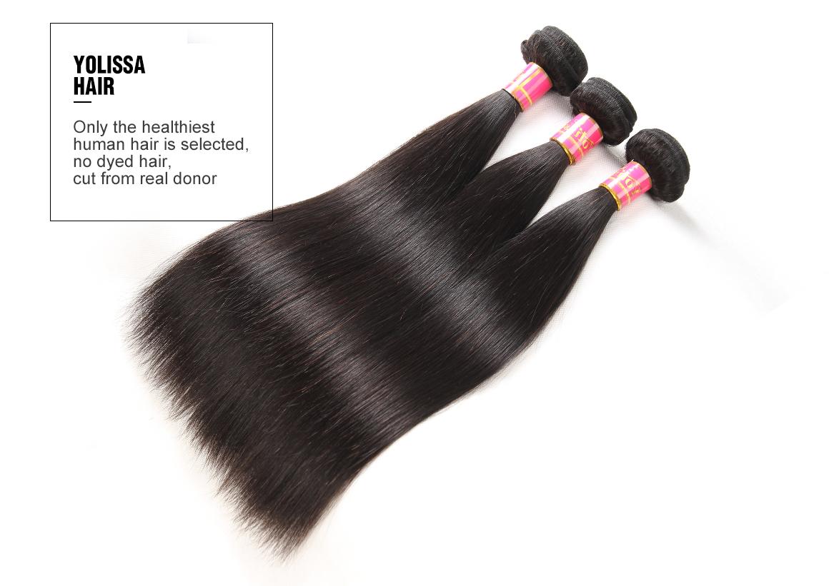 Yolissa Straight Virgin Hair Bundles With 6*6 Closure Human Hair