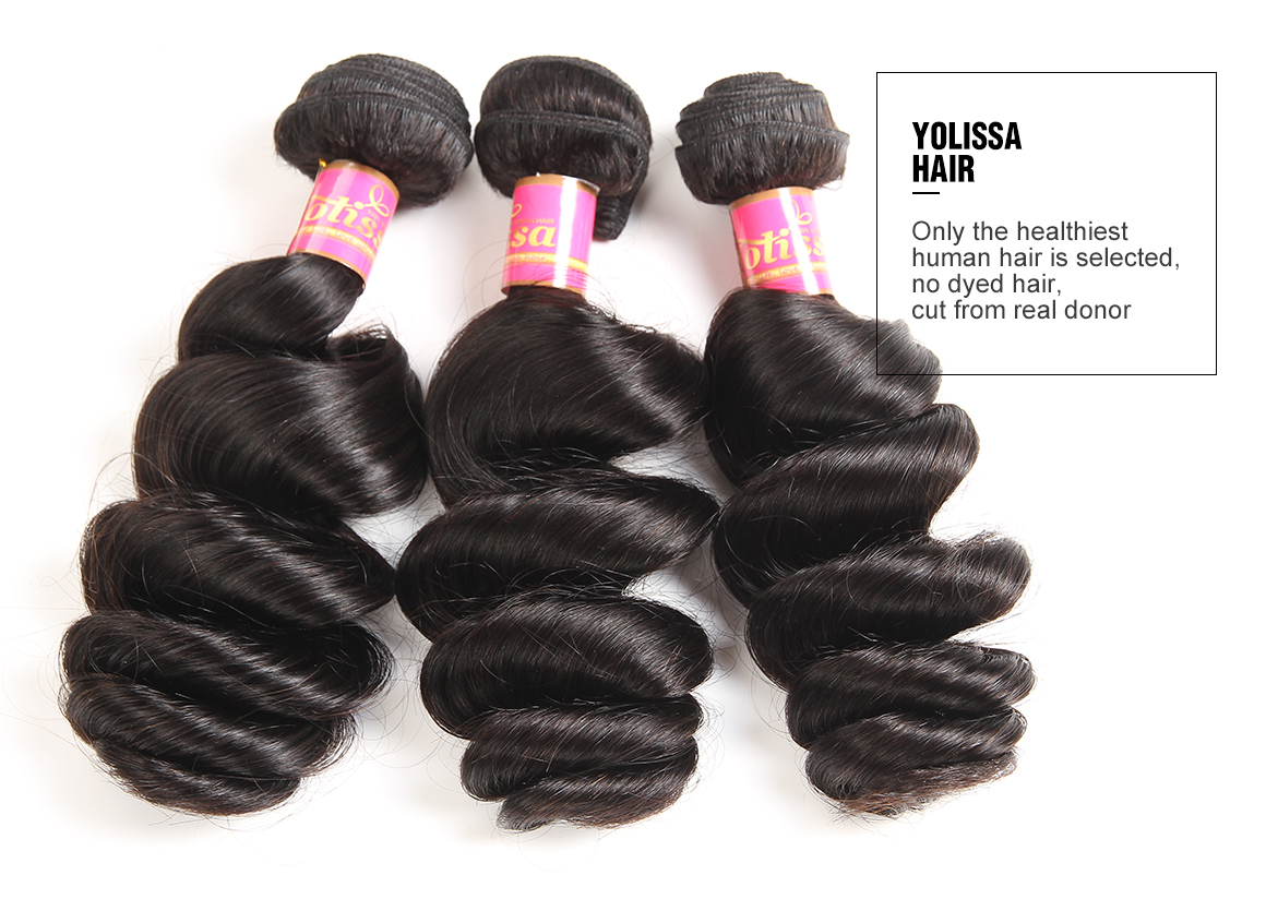 brazilian hair loose wave bundles with lace frontal