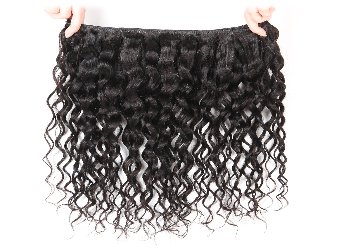 brazilian water wave hair bundles with swiss lace closure