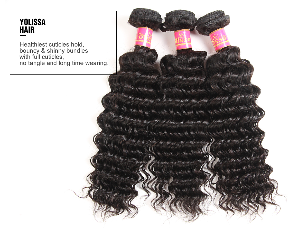 Deep Wave 4x4 Lace Closure with 3 Hair Bundles
