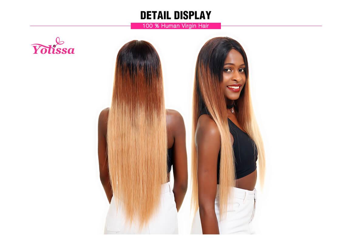 Straight Human Hair Weaves 1B/4/27 Ombre Hair 4 Bundles