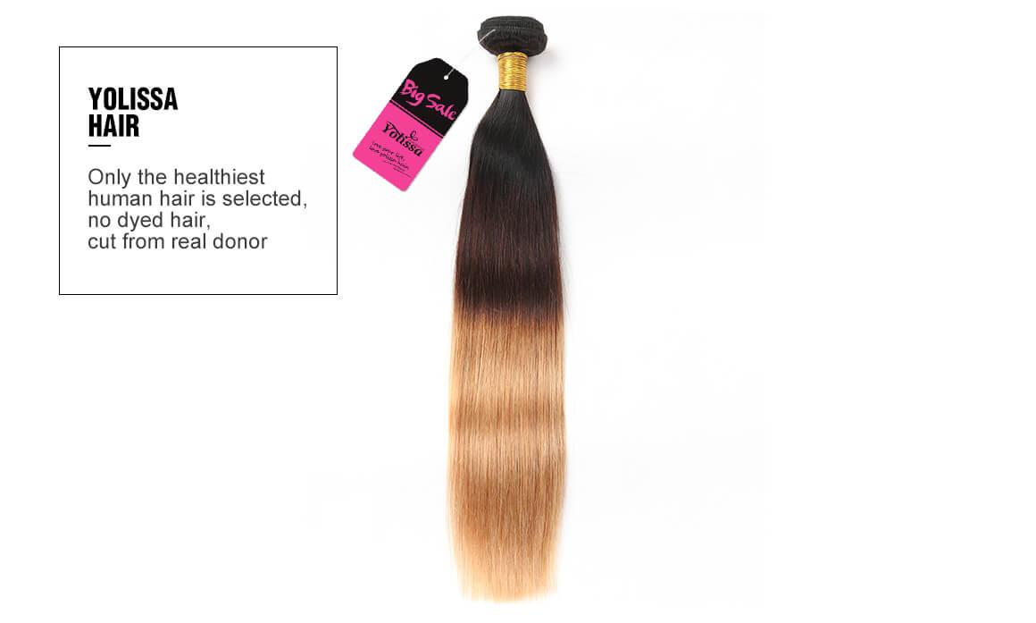 4 bundles 1B/4/27 OMBER straight human hair