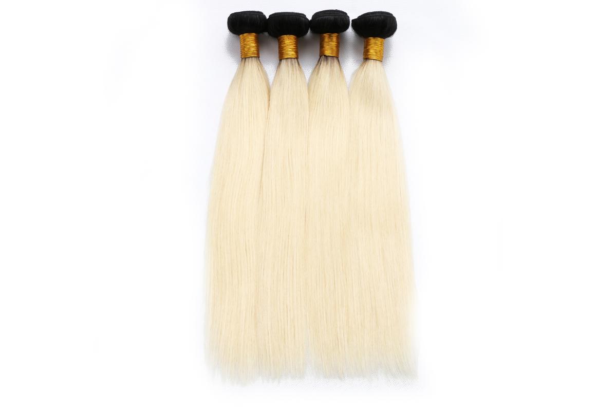 Blonde Hair With Dark Roots Straight Human Hair Bundles