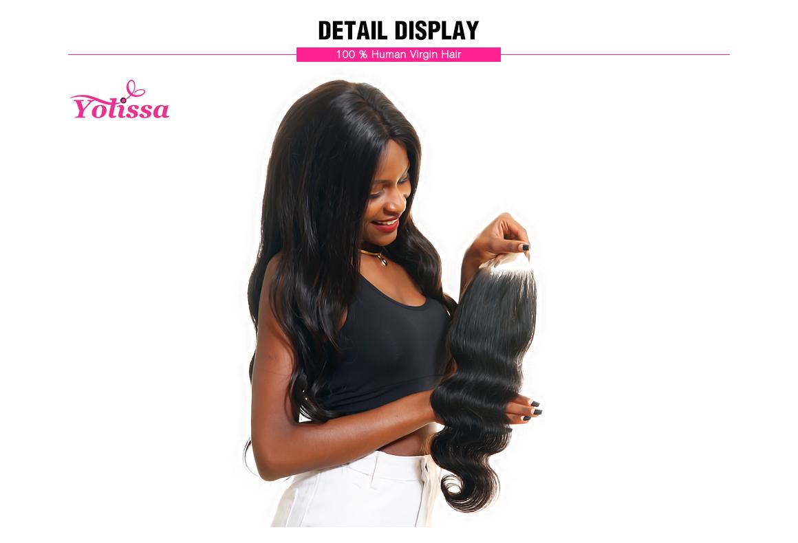Yolissa Body Wave Free Part 4x4 Lace Closure Brizilian Human Virgin Hair