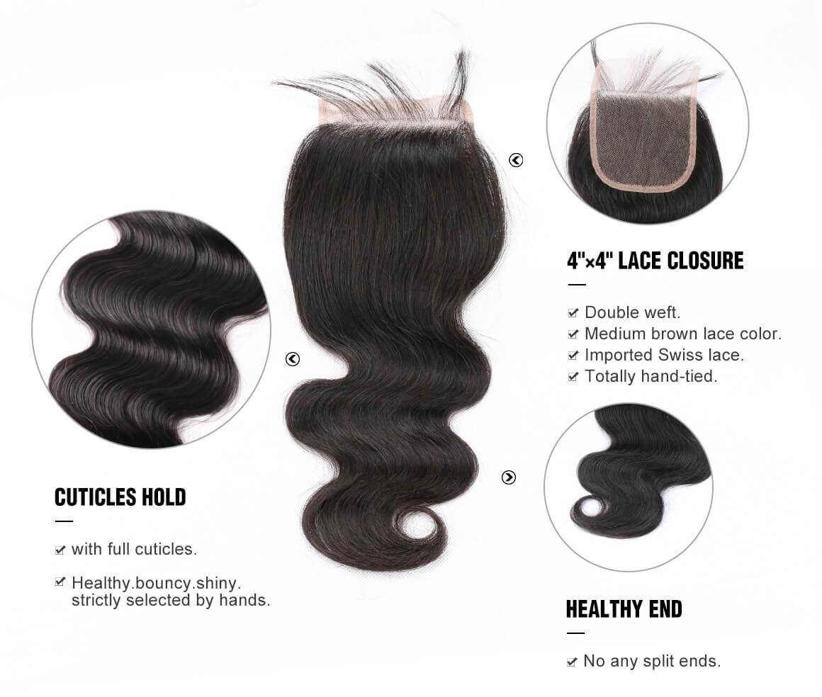 Brazilian Body Wave Lace Closure Human Virgin Hair