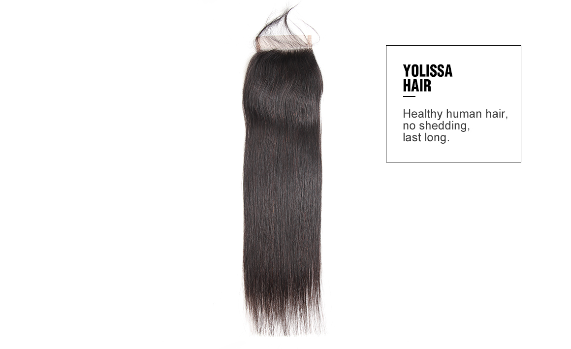 Virhin hair straight lace closure with 4 pcs hair extensions