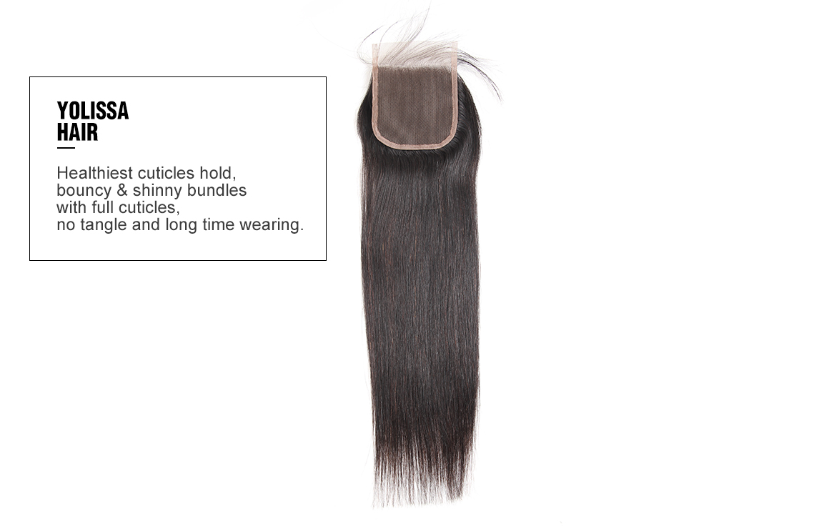 Lace closure straight hair with bundles