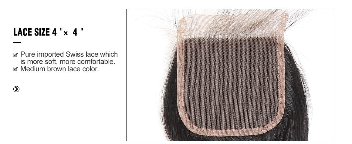 Yolissa Hair bundles with 4x4 virgin hair lace closure