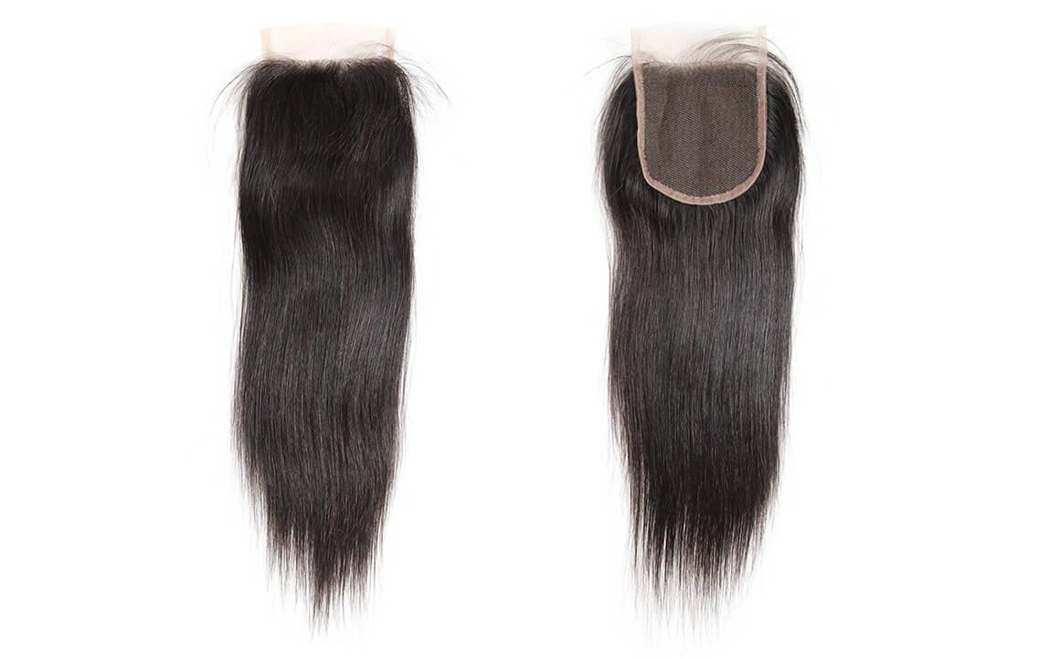 Straight Virgin Hair Natural Black Brazilian Lace Closure Hair