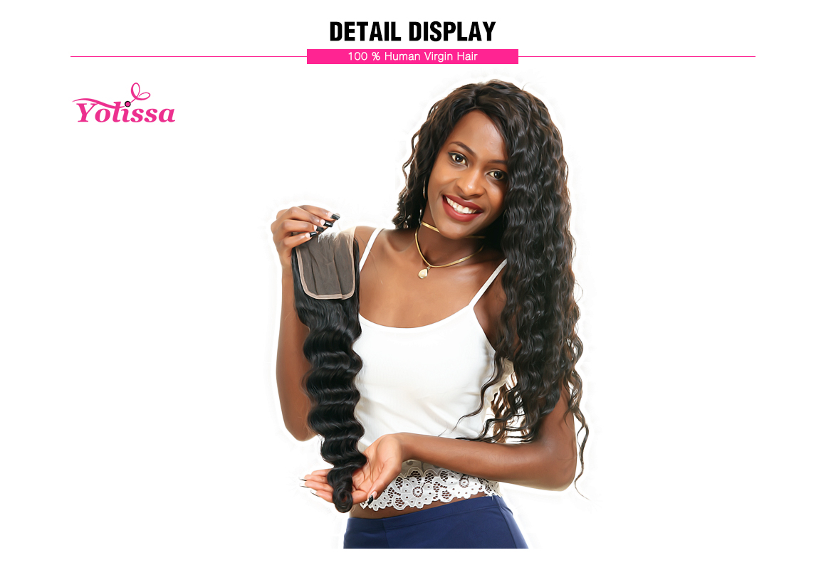 Yolissa 4*4 Free Part Lace Closure Loose Deep Human Virgin Hair
