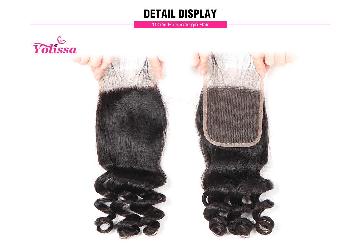 Yolissa 4*4 Lace Closure Loose Wave Natural Black Brazilian Virgin Hair