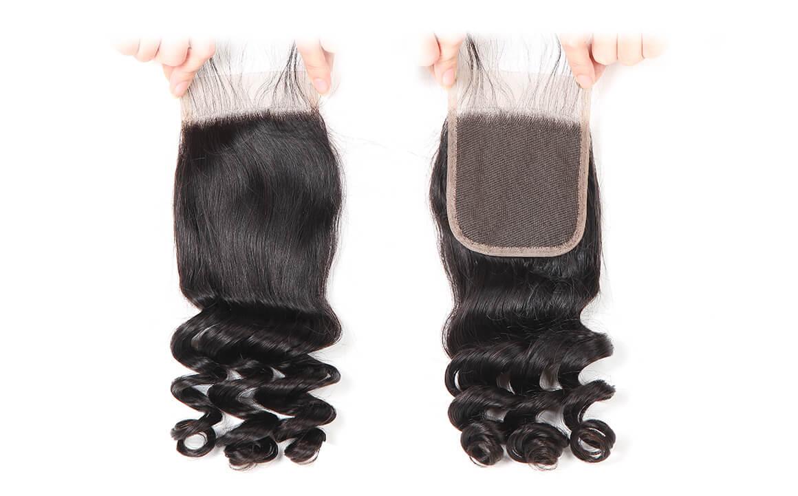 Loose Wave Natural Black 4x4 Lace Closure Brazilian Virgin Hair