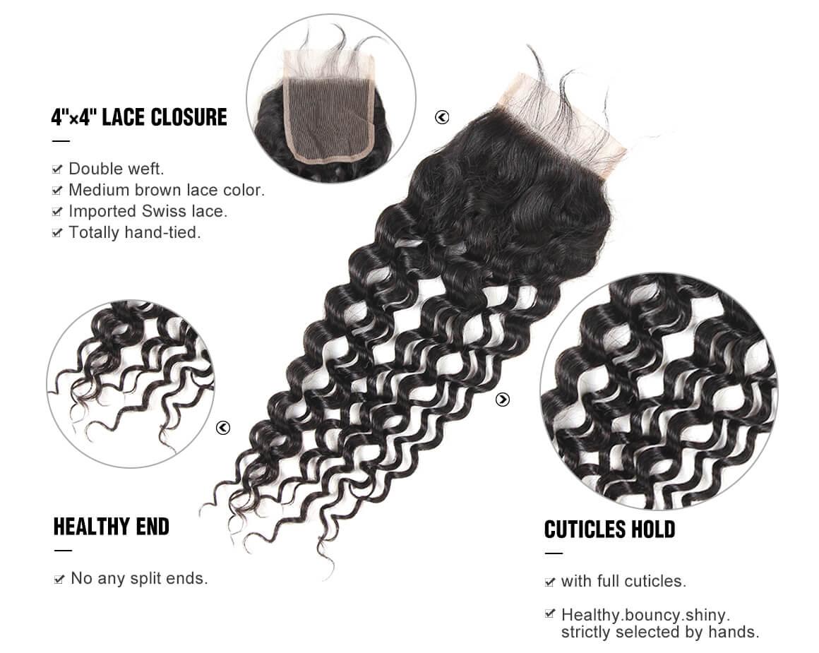 4x4 Brazilian water wave human virgin hair lace closure