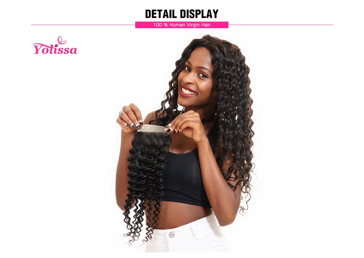 Yolissa Hand-Tied 4*4 Lace Closure Deep Wave Brazilian Natural Black Virgin Hair