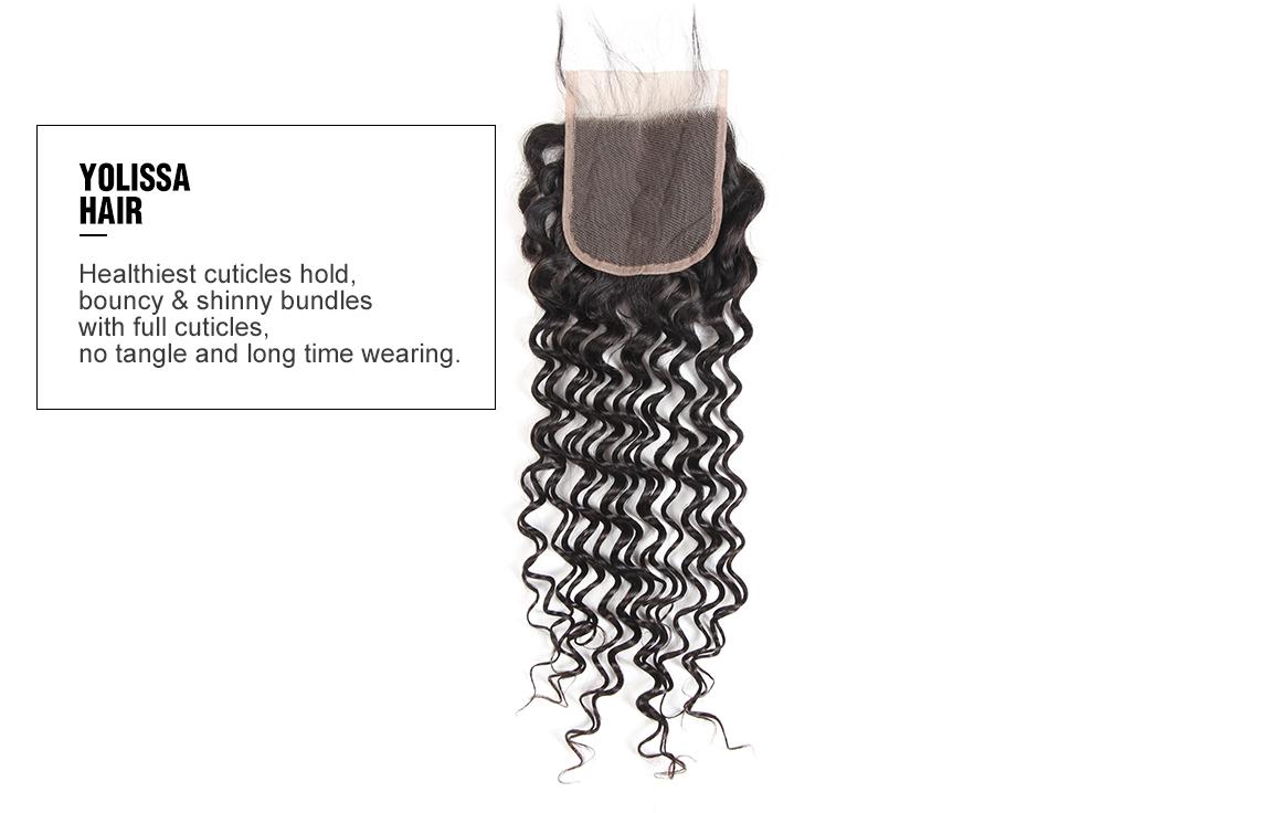 Yolissa 4 hair bundles with the deep wave 4x4 lace closure