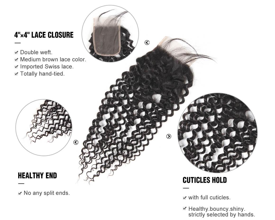 Yolissa Curly Brazilian Virgin Hair 4x4 Durable Lace Closure Free Part