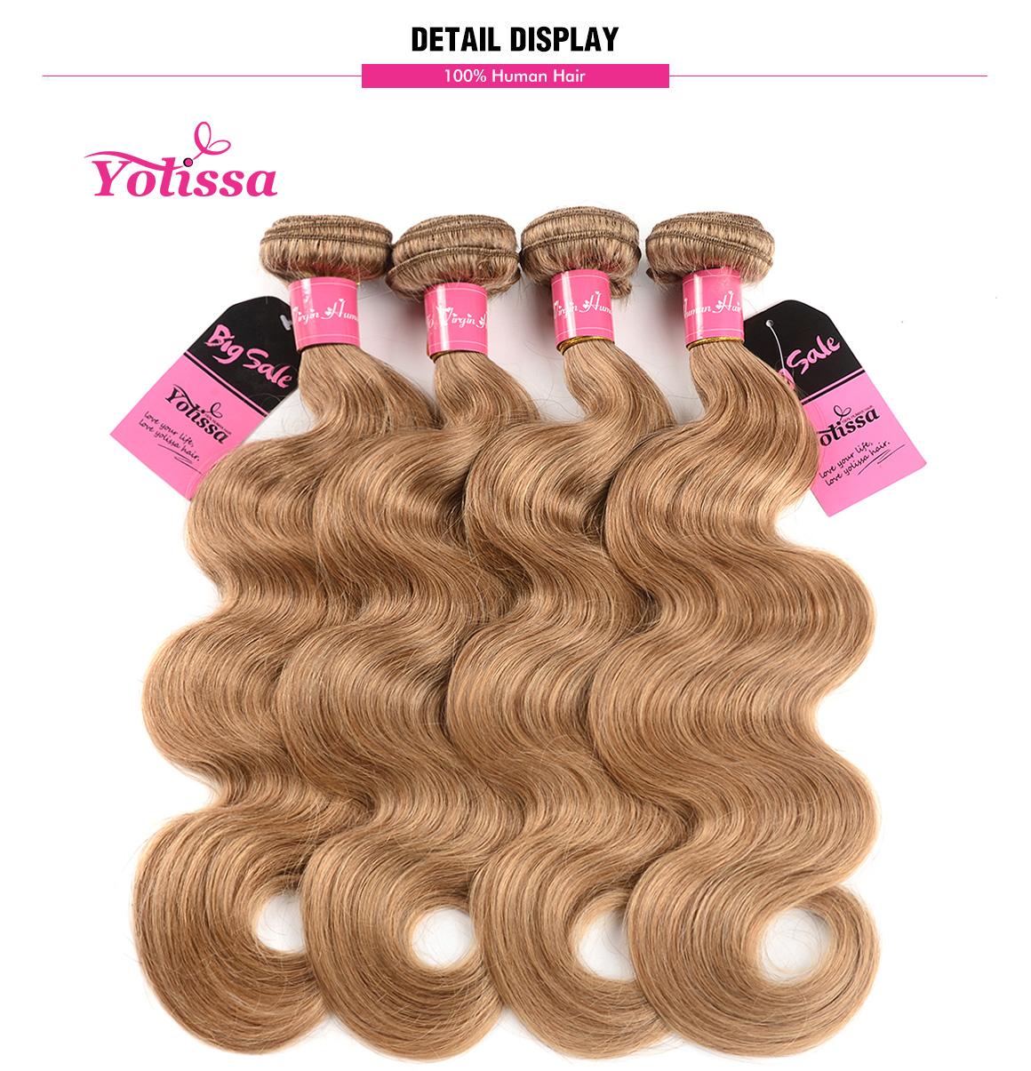 Yolissa 4 Bundles Body Wave Pure Honey Blonde #27 Hair Weaves