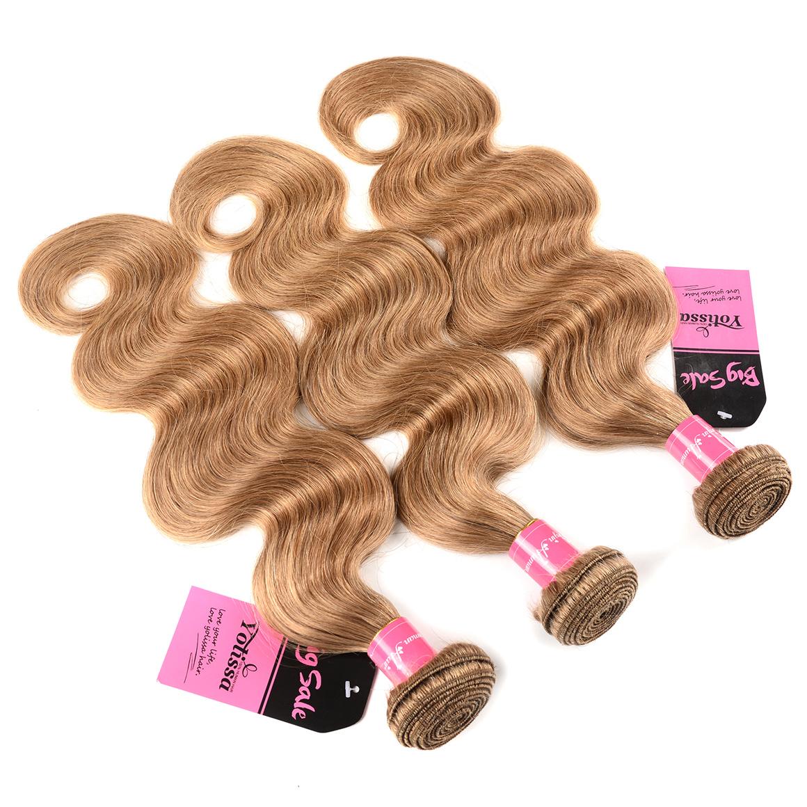 3 Bundles With Frontal Honey Blonde Color