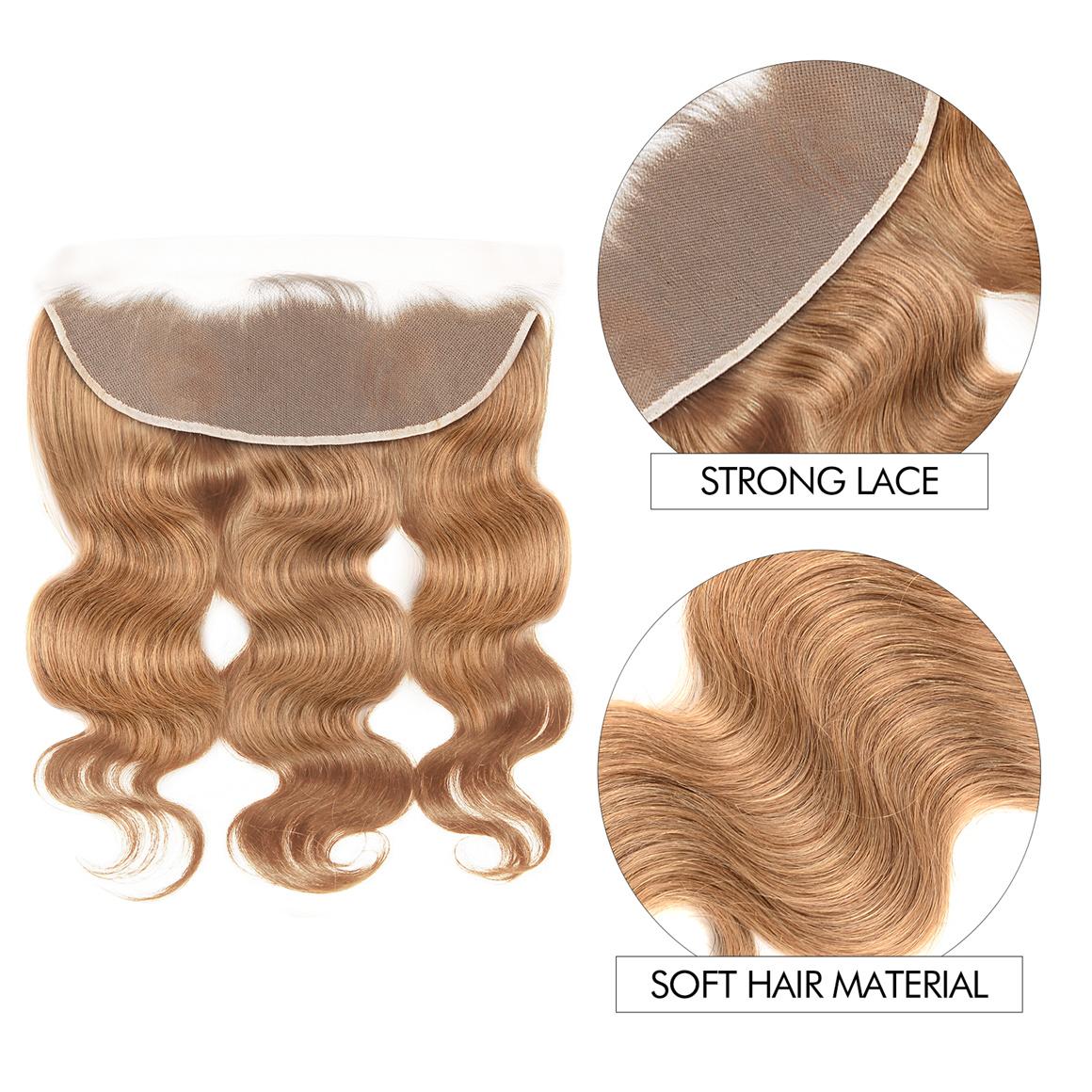 #27 3 Bundles With Frontal Honey Blonde Color