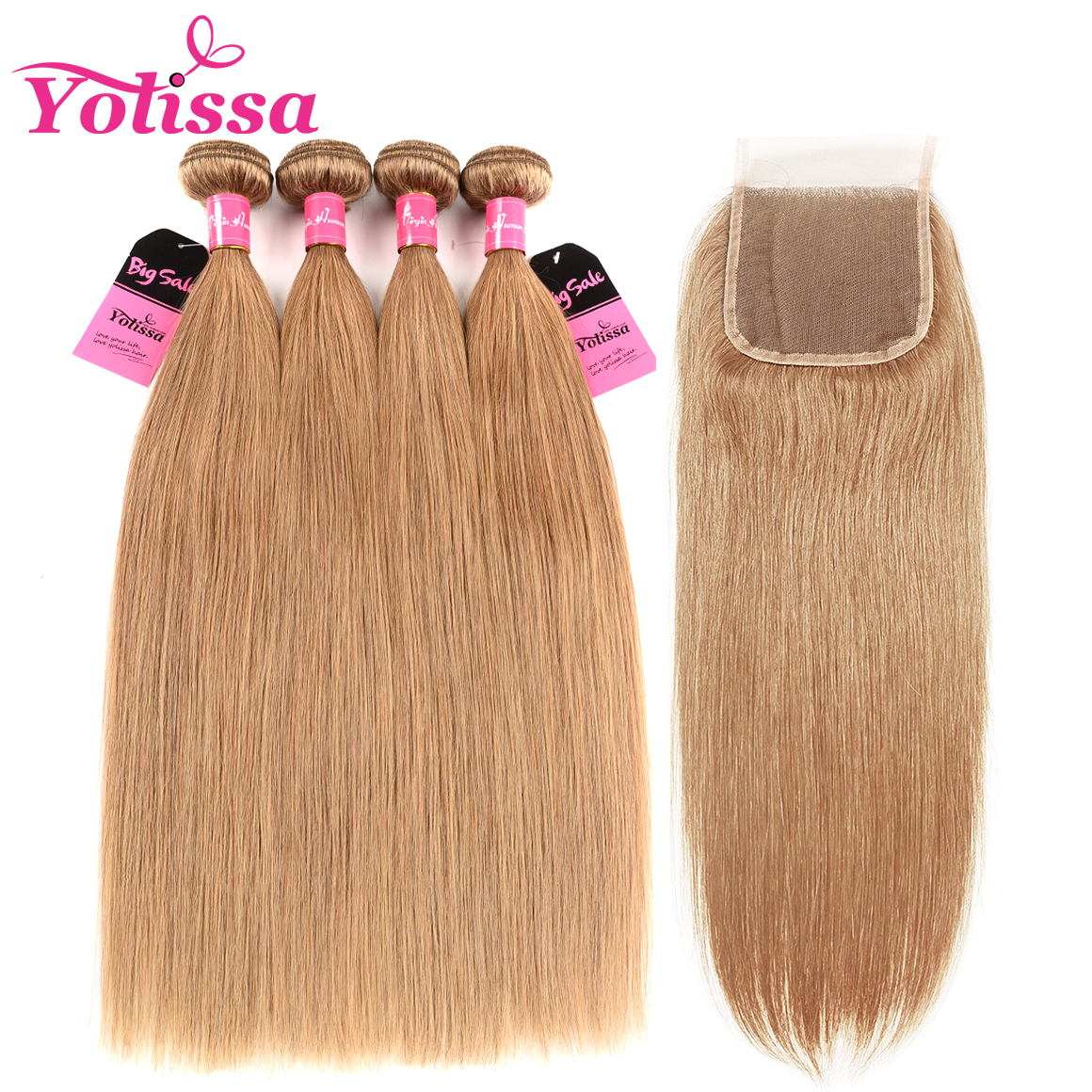 Straight Hair 4 Bundles With Closure 4×4 Camarel Hair Color