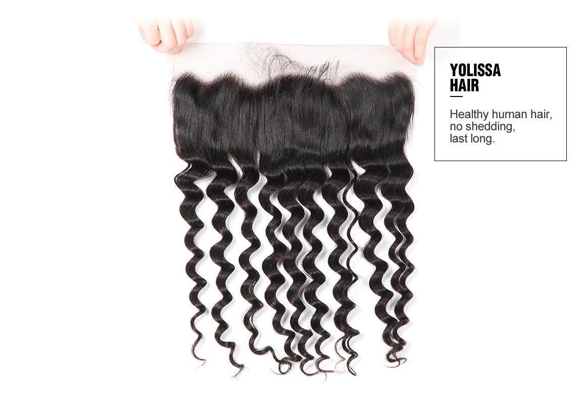 Loose Deep Human Virgin Hair Lace Frontal