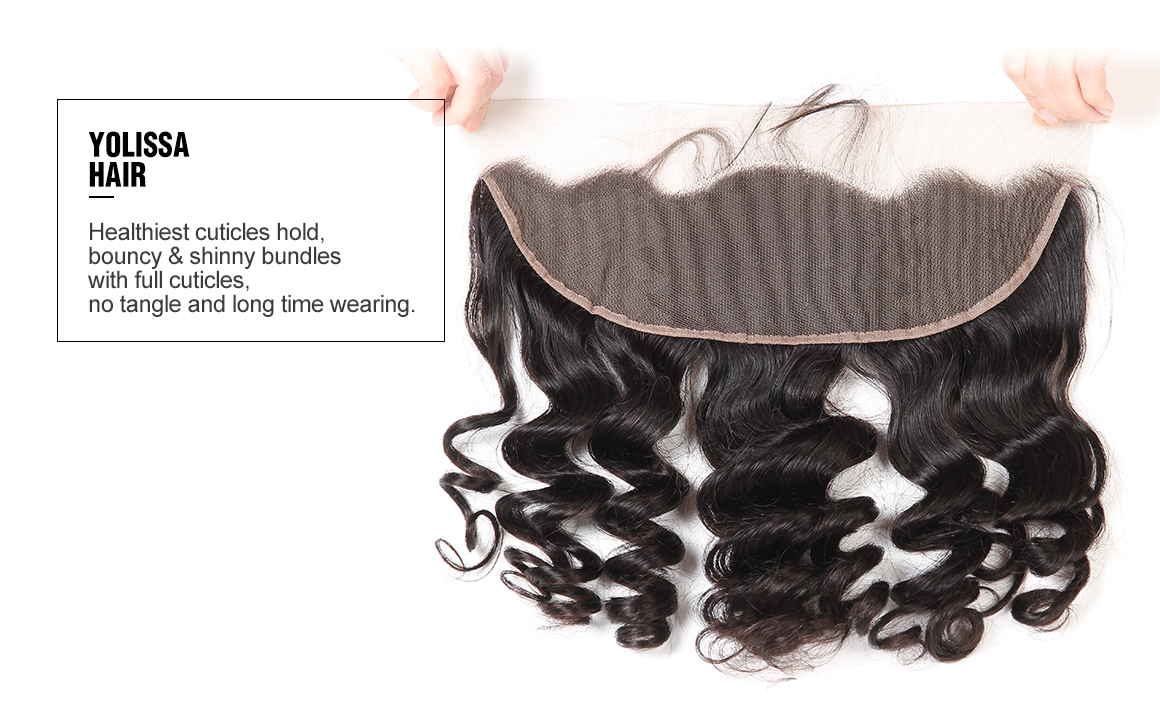 brazilian remy hair loose wave bundles with lace frontal