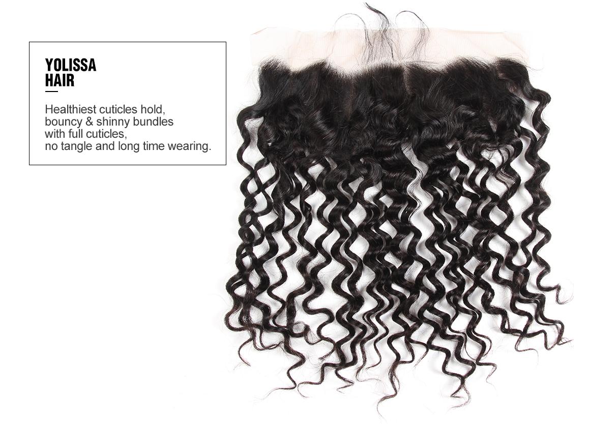 Brazilian 13x4 Lace Frontal Water Wave Virgin Hair Weave Free Part
