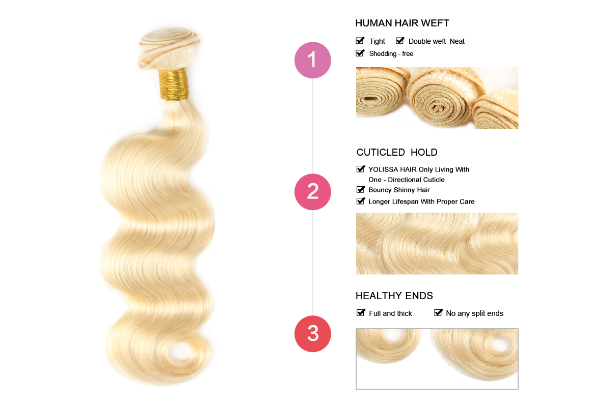 3 Bundles 613 Blonde Human Hair Weaves With Lace Closure
